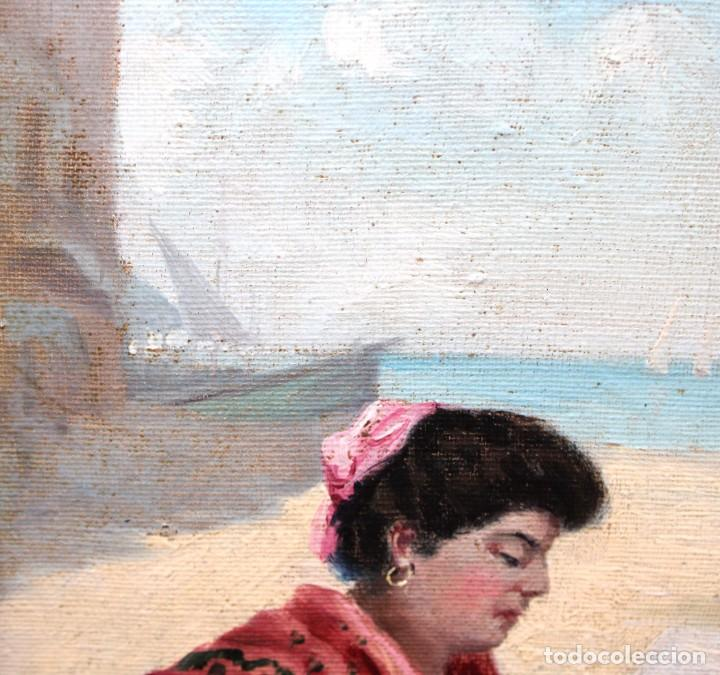 Arte: ESCUELA ESPAÑOLA DE APROXIMADAMENTE 1900. PAREJA D OLEOS SOBRE TELA DE AUTOR DESCONOCIDO. PESCADORES - Foto 10 - 252756475