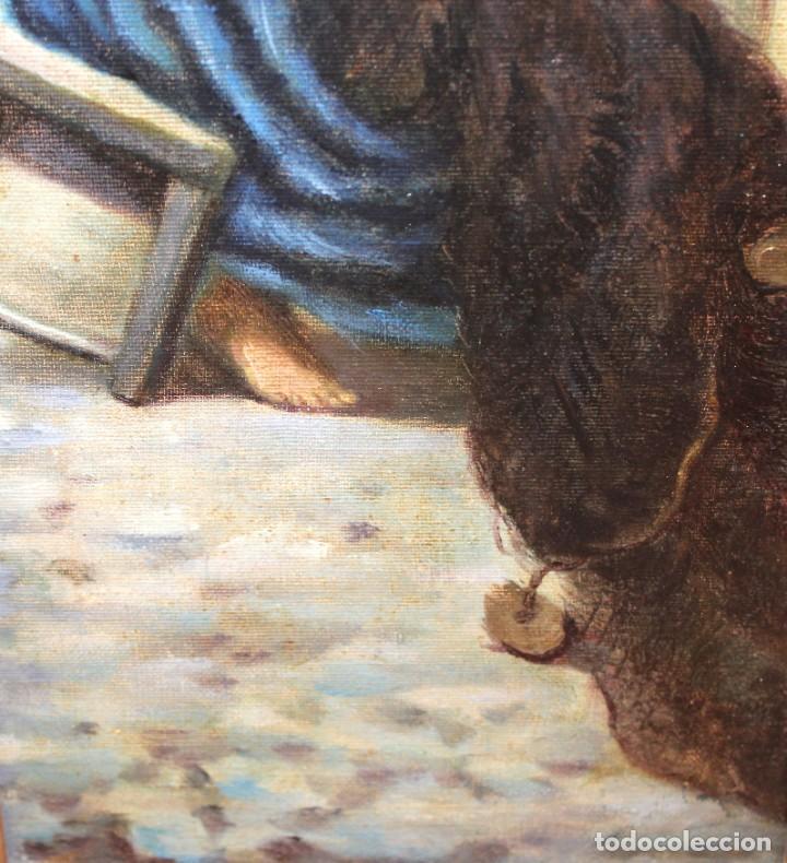 Arte: ESCUELA ESPAÑOLA DE APROXIMADAMENTE 1900. PAREJA D OLEOS SOBRE TELA DE AUTOR DESCONOCIDO. PESCADORES - Foto 14 - 252756475