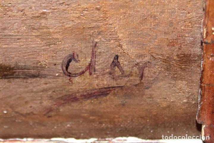 Arte: ESCUELA ESPAÑOLA DE APROXIMADAMENTE 1900. PAREJA D OLEOS SOBRE TELA DE AUTOR DESCONOCIDO. PESCADORES - Foto 15 - 252756475