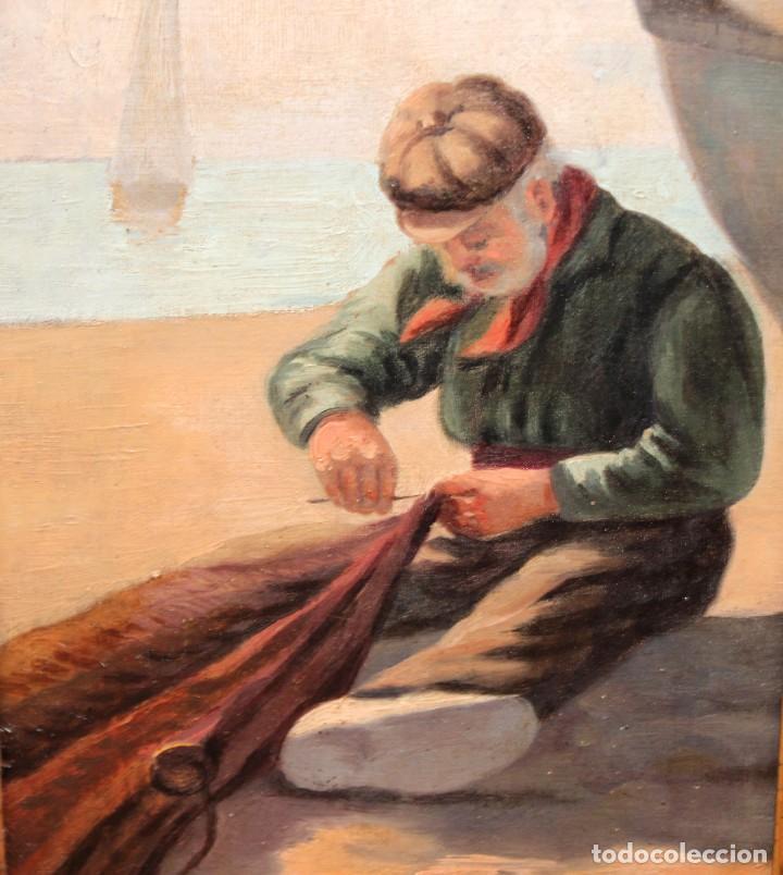 Arte: ESCUELA ESPAÑOLA DE APROXIMADAMENTE 1900. PAREJA D OLEOS SOBRE TELA DE AUTOR DESCONOCIDO. PESCADORES - Foto 18 - 252756475