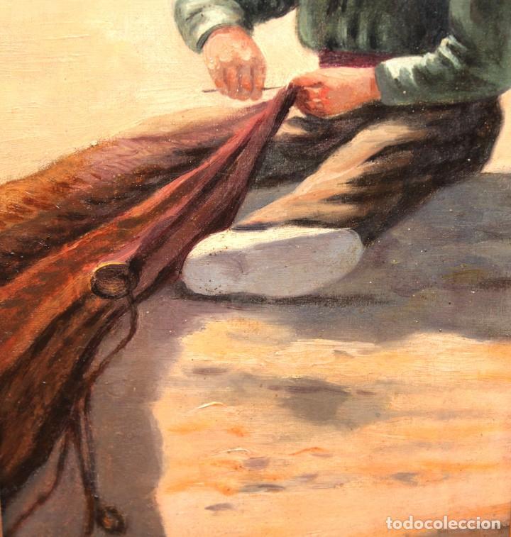Arte: ESCUELA ESPAÑOLA DE APROXIMADAMENTE 1900. PAREJA D OLEOS SOBRE TELA DE AUTOR DESCONOCIDO. PESCADORES - Foto 22 - 252756475