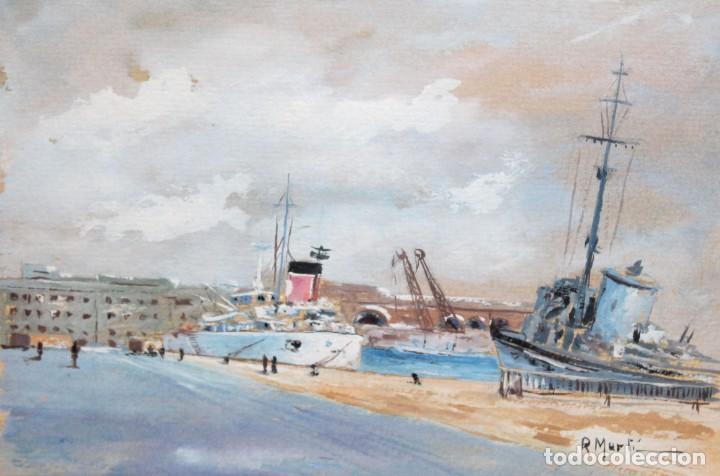 RICARD MARTI AGUILO (BARCELONA, 1868-1936) GOUACHE SOBRE CARTON. MOLL DE LA FUSTA (BARCELONA) (Arte - Pintura - Pintura al Óleo Contemporánea )