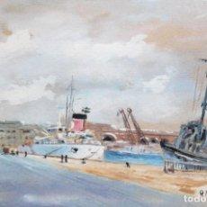 Arte: RICARD MARTI AGUILO (BARCELONA, 1868-1936) GOUACHE SOBRE CARTON. MOLL DE LA FUSTA (BARCELONA). Lote 253068925