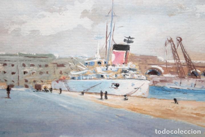 Arte: RICARD MARTI AGUILO (Barcelona, 1868-1936) GOUACHE SOBRE CARTON. MOLL DE LA FUSTA (BARCELONA) - Foto 3 - 253068925