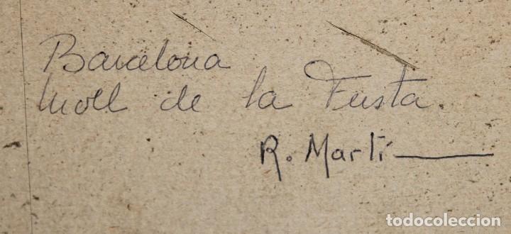 Arte: RICARD MARTI AGUILO (Barcelona, 1868-1936) GOUACHE SOBRE CARTON. MOLL DE LA FUSTA (BARCELONA) - Foto 8 - 253068925