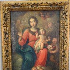 Arte: ELEGANTE ÓLEO SOBRE TELA- VIRGEN CON NIÑO JESUS - S XVIII - CON MARCO 63 X 79 CM- TELA 46 X 64 CM. Lote 253113860
