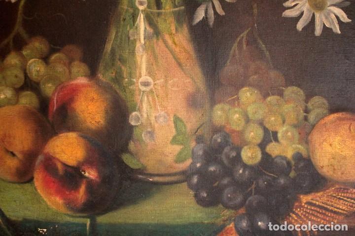 Arte: Bodegón con florero, oleo sobre lienzo. Esc. Valenciana s.XIX? firmado y enmarcado 69x60cm - Foto 6 - 253141640
