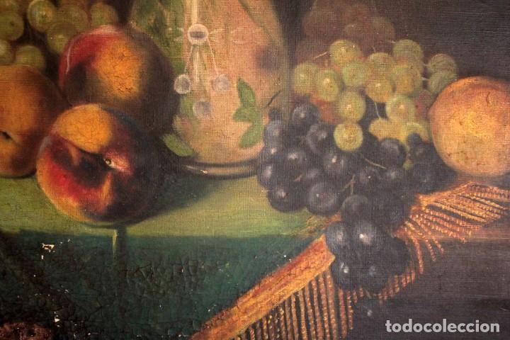 Arte: Bodegón con florero, oleo sobre lienzo. Esc. Valenciana s.XIX? firmado y enmarcado 69x60cm - Foto 8 - 253141640