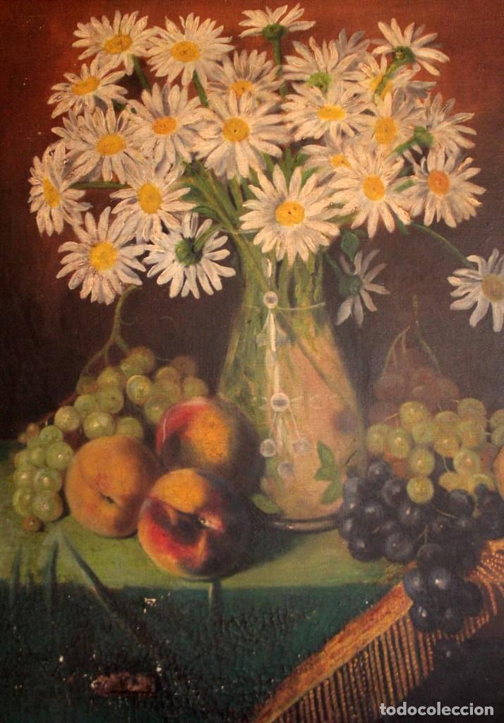 Arte: Bodegón con florero, oleo sobre lienzo. Esc. Valenciana s.XIX? firmado y enmarcado 69x60cm - Foto 9 - 253141640