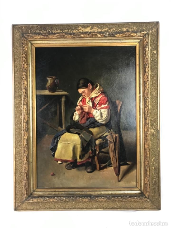 JOSÉ MARIA MENDIGUCHIA TALAVERA DE LA REINA.ÓLEO SOBRE CARTÓN FIN SG XIX FIRMADO. (Arte - Pintura - Pintura al Óleo Antigua sin fecha definida)