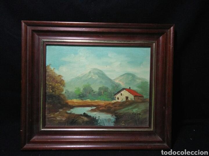 Arte: Pintura oleo principios de siglo XX ,oleo lienzo ,marco de madera paisaje montañas - Foto 2 - 253186730