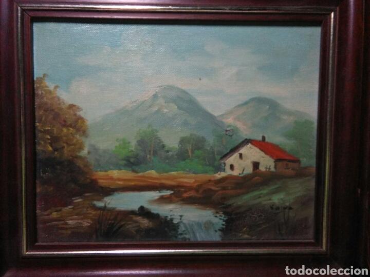 Arte: Pintura oleo principios de siglo XX ,oleo lienzo ,marco de madera paisaje montañas - Foto 3 - 253186730