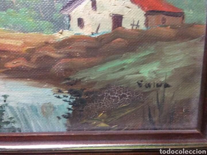 Arte: Pintura oleo principios de siglo XX ,oleo lienzo ,marco de madera paisaje montañas - Foto 4 - 253186730