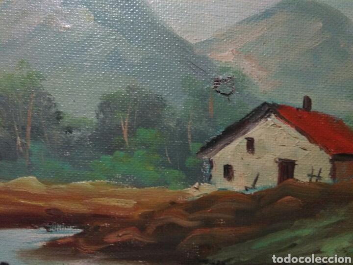 Arte: Pintura oleo principios de siglo XX ,oleo lienzo ,marco de madera paisaje montañas - Foto 5 - 253186730