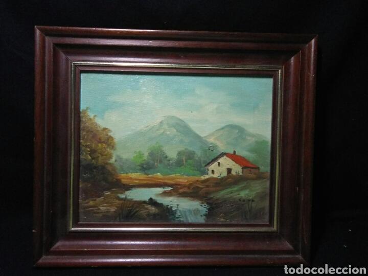 Arte: Pintura oleo principios de siglo XX ,oleo lienzo ,marco de madera paisaje montañas - Foto 6 - 253186730