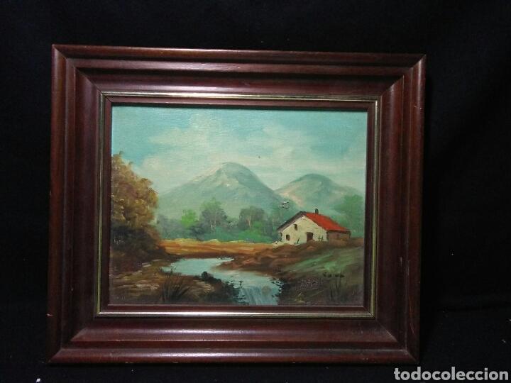 Arte: Pintura oleo principios de siglo XX ,oleo lienzo ,marco de madera paisaje montañas - Foto 8 - 253186730