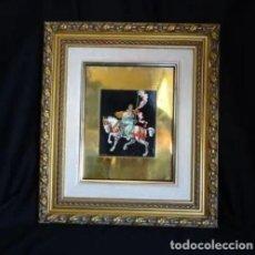 Arte: OLEO SOBRE LATON, CABALLERO MEDIEVAL RECATA A UNA DAMA.FIRMADO. Lote 253250610
