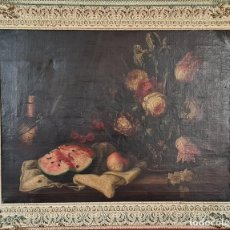 Arte: BODEGÓN CON FLORES. ÓLEO SOBRE LIENZO. SIN FIRMAR. SIGLO XVIII-XIX.. Lote 253359350
