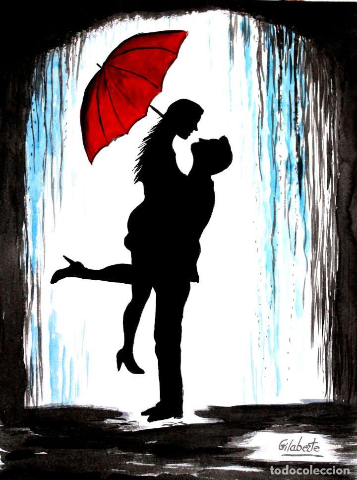 Arte: Enamorados bajo la lluvia obra de Gilaberte - Foto 2 - 253479275