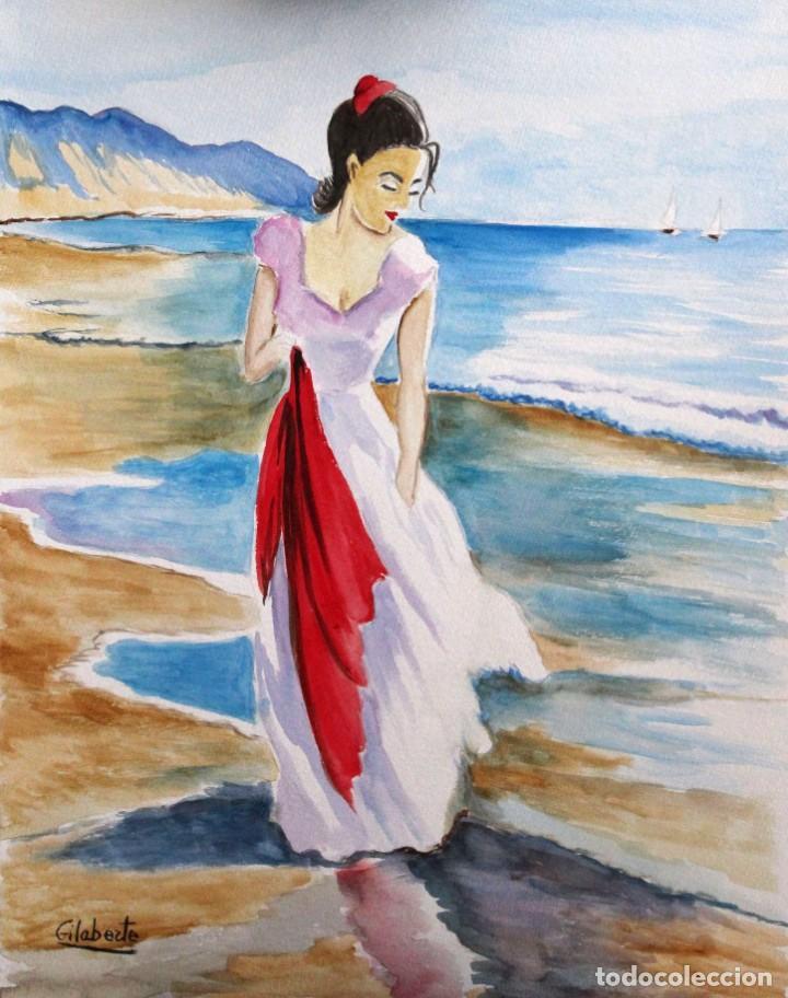 Arte: Mujer con pañuelo obra de Gilaberte - Foto 2 - 253479340