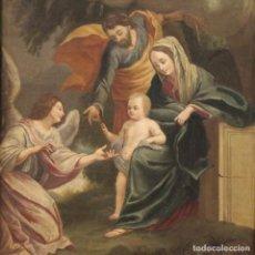 Arte: SAGRADA FAMILIA ENTRE LOS ÁNGELES DEL SIGLO XVIII. Lote 253497995
