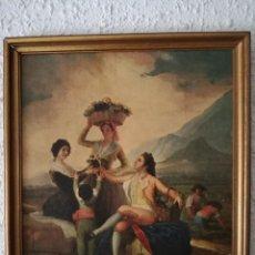 Arte: ANTIGUA PINTURA/RÉPLICA-DE LA VENDIMIA DE GOYA (ÓLEO SOBRE LIENZO). Lote 253586550