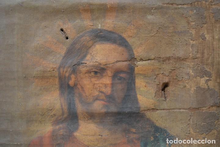 Arte: Sagrado Corazón de Jesús, pintura al óleo sobre tela, principios siglo XX, con marco. 50x38cm - Foto 3 - 253643580