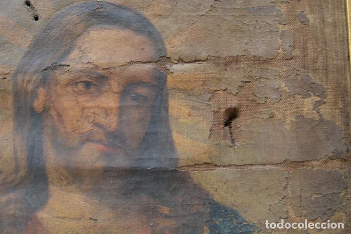Arte: Sagrado Corazón de Jesús, pintura al óleo sobre tela, principios siglo XX, con marco. 50x38cm - Foto 4 - 253643580