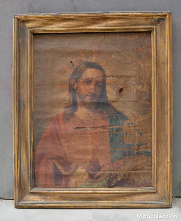 SAGRADO CORAZÓN DE JESÚS, PINTURA AL ÓLEO SOBRE TELA, PRINCIPIOS SIGLO XX, CON MARCO. 50X38CM (Arte - Pintura - Pintura al Óleo Contemporánea )