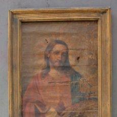 Arte: SAGRADO CORAZÓN DE JESÚS, PINTURA AL ÓLEO SOBRE TELA, PRINCIPIOS SIGLO XX, CON MARCO. 50X38CM. Lote 253643580