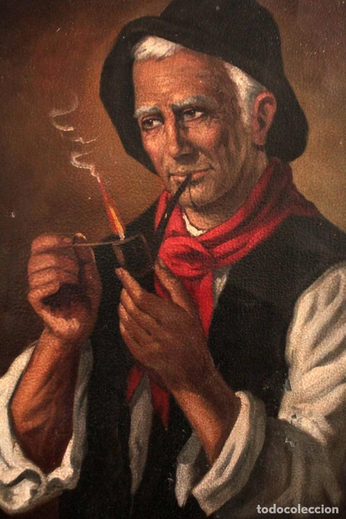 FUMANDO EN PIPA, OLEO SOBRE LIENZO. GRAN CALIDAD, SIN FIRMA APARENTE. 69X50CM (Arte - Pintura - Pintura al Óleo Moderna siglo XIX)