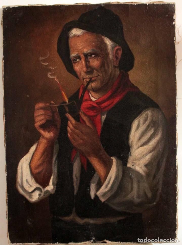 Arte: Fumando en pipa, oleo sobre lienzo. Gran calidad, sin firma aparente. 69x50cm - Foto 2 - 253655335