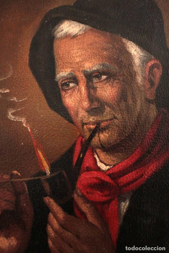 Arte: Fumando en pipa, oleo sobre lienzo. Gran calidad, sin firma aparente. 69x50cm - Foto 3 - 253655335