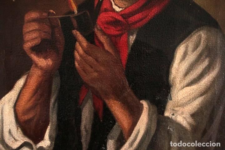Arte: Fumando en pipa, oleo sobre lienzo. Gran calidad, sin firma aparente. 69x50cm - Foto 4 - 253655335