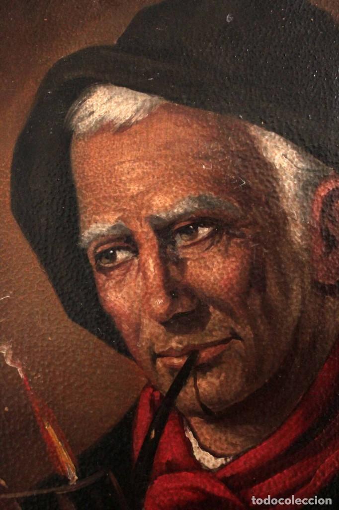 Arte: Fumando en pipa, oleo sobre lienzo. Gran calidad, sin firma aparente. 69x50cm - Foto 5 - 253655335