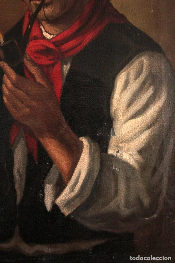 Arte: Fumando en pipa, oleo sobre lienzo. Gran calidad, sin firma aparente. 69x50cm - Foto 6 - 253655335