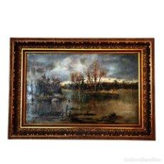 Arte: BELLO PAISAJE DE LA ALBUFERA DE VALENCIA. OLEO SOBRE LIENZO. MARCO DE CALIDAD. FIRMADO. SIGO XIX.. Lote 253813920