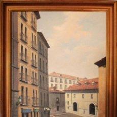 Arte: MIGUEL CARRIÓN. OLEO SOBRE LIENZO, VISTA DE CALLE. FIRMADO. GRAN FORMATO. ENMARCADO 92X71CM. Lote 253904750