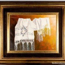 Arte: MARAVILLOSO BODEGÓN DE SERGIO BOSQUE GARCÍA, HOMENAJE A ZURBARÁN. FIRMADO Y FECHADO EN 1989. Lote 253913700