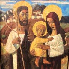 Arte: PAREJA DE ÓLEOS:SAGRADA FAMILIA Y HOMBRE Y MUJER.JULIO CASTRO DE LA GÁNDARA (CEUTA 1927-MADRID 1983). Lote 253919655