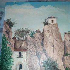 Arte: LOTE ÓLEO SOBRE LIENZO PUEBLO MONTAÑA PAISAJE GUADALEST ALICANTE BASTIDOR ROCA RODILLA. Lote 253935885