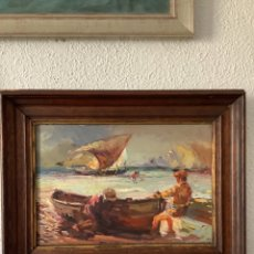 Arte: ESCUELA VALENCIANA ÓLEO MARINA SOBRE TABLA VUELTA DE PESCA PRINCIPIOS SIGLO XX. Lote 253999745