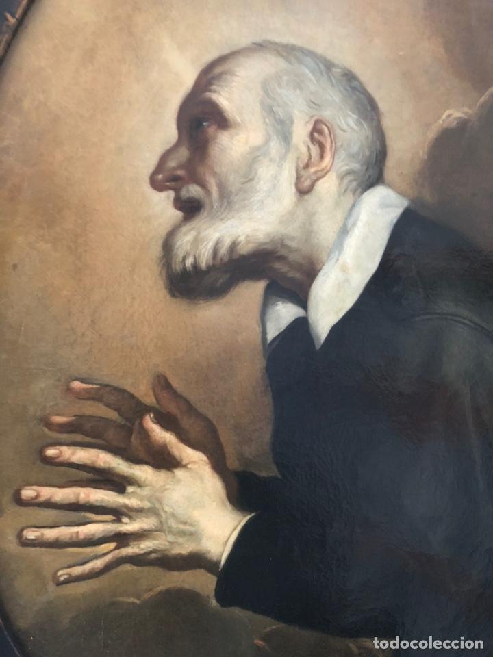 Arte: Impresionante óleo barroco italiano del siglo XVII representando a San Felipe Neri - Foto 9 - 74376398