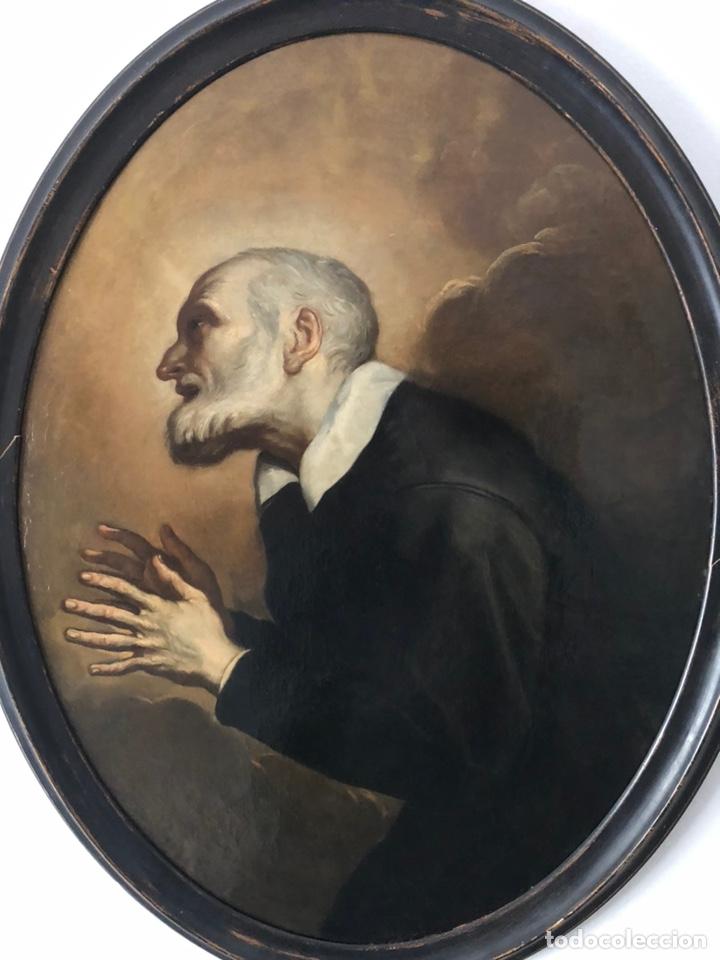 Arte: Impresionante óleo barroco italiano del siglo XVII representando a San Felipe Neri - Foto 17 - 74376398