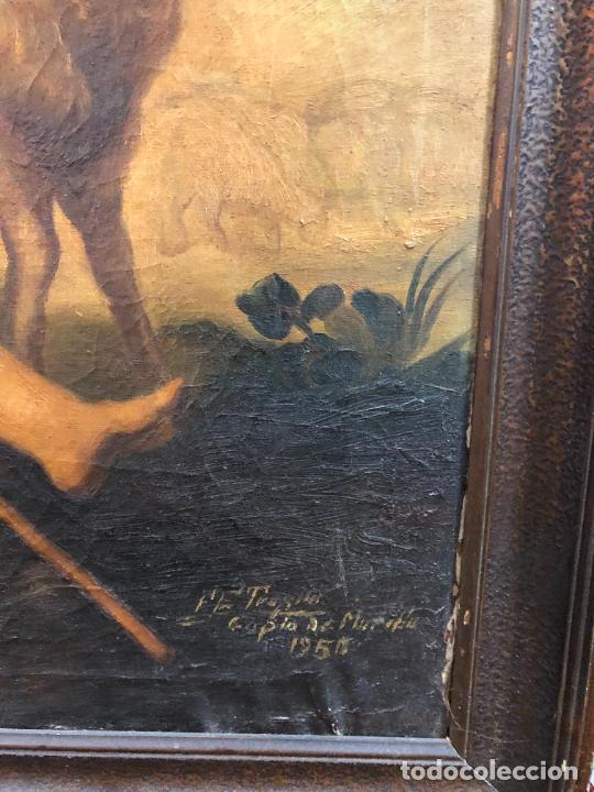 Arte: OLEO SOBRE LIENZO SAN JUANITO COPIA DE MURILLO FIRMADO EN EL AÑO 1950 - MEDIDA MARCO 115X90 CM - Foto 7 - 254215570