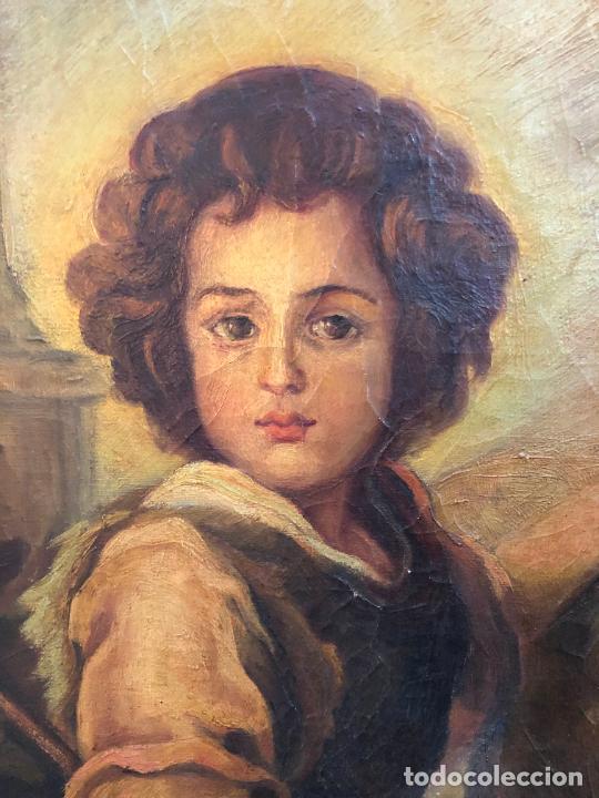 Arte: OLEO SOBRE LIENZO SAN JUANITO COPIA DE MURILLO FIRMADO EN EL AÑO 1950 - MEDIDA MARCO 115X90 CM - Foto 12 - 254215570