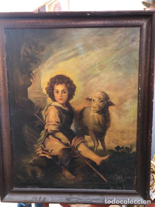 OLEO SOBRE LIENZO SAN JUANITO COPIA DE MURILLO FIRMADO EN EL AÑO 1950 - MEDIDA MARCO 115X90 CM (Arte - Pintura - Pintura al Óleo Contemporánea )