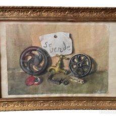 Arte: ANTIGUA ACUARELA, CARTEL ANTIGUO DE FERRETERÍA, MARCO DE MADERA DORADO AL ORO FINO. 60X43. FIRMADO.. Lote 254286800
