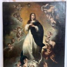 Arte: ÓLEO SOBRE LIENZO VIRGEN INMACULADA - SIGLO XVIII - ESCUELA SEVILLANA - 124X93 CM -. Lote 254336785