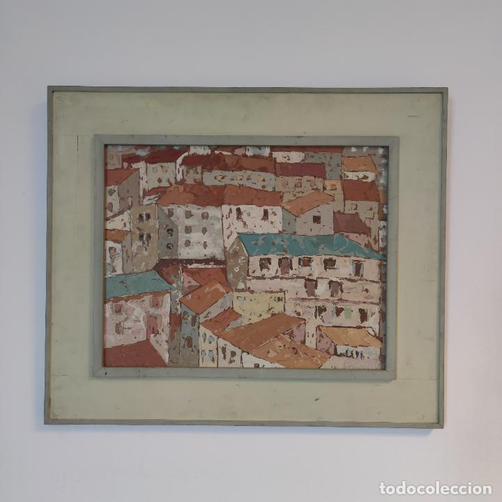Arte: Bonito paisaje de colorido pueblo. Oleo a espátula. Firmado. Armesto. Siglo XIX-XX. - Foto 2 - 254433720